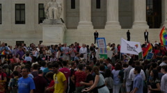 Crowd at Same Sex Marriage Ruling -  U.S. Supreme Court Stock Footage