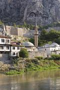 Stock Photo of Mosque and Tombs of the Kings Amasya Yesilirmak River Black Sea Region Turkey