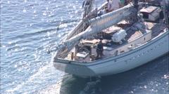 AERIAL United States-Schooner Leaving Harbour Stock Footage