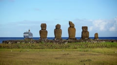 Easter Island Statues Ship 01 HD Stock Footage