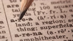 Area - Fake dictionary definition of the word with pencil underline Stock Footage
