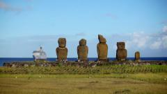 Easter Island Statues Ship 02 HD Stock Footage