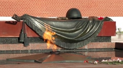 Eternal flame in memory of victims of the world war Stock Footage