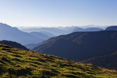 View from HimmelmoosAlm mountain pasture on Mt Brunnstein in the Mangfall - stock photo