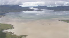 AERIAL Ireland-Sandy Estuary In Blacksod Bay Stock Footage