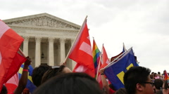 Flags at Same Sex Marriage Ruling - U.S. Supreme Court - stock footage