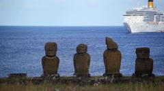 Easter Island Statues Ship 06 HD Stock Footage