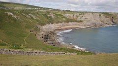 Fall Bay The Gower peninsula South Wales UK by Rhossili beach and Mewslade Bay Stock Footage