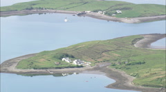 AERIAL Ireland-Houses On Clew Bay Islands Stock Footage