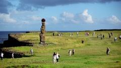 Easter Island Tourists 01 HD - stock footage