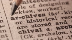 Archives - Fake dictionary definition of the word with pencil underline Stock Footage