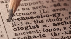 Archaeology - Fake dictionary definition of the word with pencil underline - stock footage
