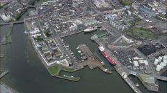 AERIAL Ireland-Harbours On Galway Coast - stock footage