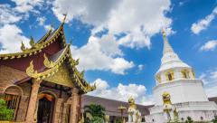 Wat Yang Kuang Famous Temple Of Chianf Mai, Thailand (pan shot) Stock Footage
