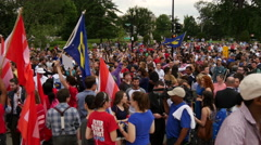 Crowd and Flags at Same Sex Marriage Ruling - U.S. Supreme Court Stock Footage