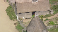 AERIAL United States-Plymoth Plantation Buildings Stock Footage
