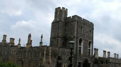 Exterior stone medieval residential complex inside  Windsor Castle Stock Footage
