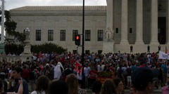 Crowd and Flags at Same Sex Marriage Ruling - U.S. Supreme Court - stock footage