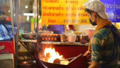 Street food night life in China town, BANGKOK, THAILAND - 2015 Stock Footage