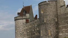 Panoramic video upper parts of Medieval Windsor Castle Stock Footage