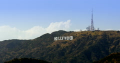 Iconic Hollywood sign above Beverly Hills Los Angeles, 2015 Stock Footage