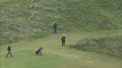 AERIAL Ireland-Waterville Golf Course Stock Footage