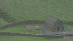 AERIAL Ireland-Gallerus Oratory Stock Footage