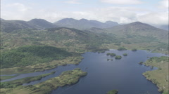 AERIAL Ireland-Flight From Lough Leane To Upper Lake Stock Footage