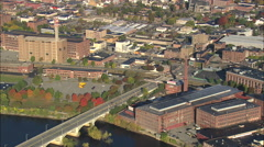 AERIAL United States-Old Cotton Mills At Lawrence Stock Footage