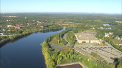 AERIAL United States-Merrimack River Near Lowell Stock Footage