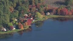 AERIAL United States-Ponds Woods And Houses Stock Footage