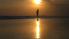 Woman Looks Out at Inspiration Golden Sunset 4K Stock Footage