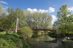 Bridge across Main confluence or Main origin Kulmbach Upper Franconia Franconia Stock Photos