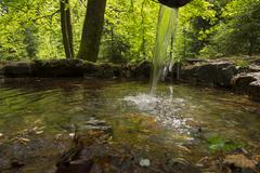 Rotmainquelle source of the Red Main Creussen Upper Franconia Franconia Bavaria - stock photo