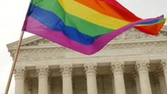 Rainbow Flag Waves at Same Sex Marriage Ruling - U.S. Supreme Court - stock footage
