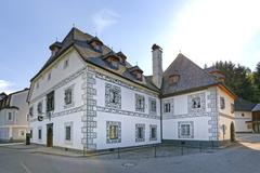 Amon House with sgraffito Lunz am See Eisenwurzen Mostviertel Lower Austria Stock Photos