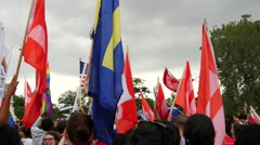 Flags at Same Sex Marriage Ruling - U.S. Supreme Court Stock Footage