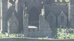 AERIAL Ireland-Flight Over Rock Of Cashel Stock Footage