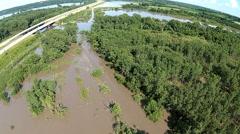 Flooding in Iowa USA - Hwy 5 - stock footage