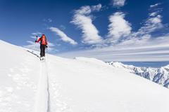 Stock Photo of Ski touring ascent through the Lagauntal on the Stotz at Maso Corto in the