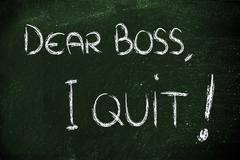 Dear Boss, I quit: unhappy employee message Stock Illustration