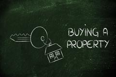 real estate market,  home buying and selling - stock illustration