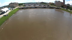Stock Video Footage of Flooding in Des Moines Iowa, Court avenue bridges