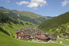 Townscape Lanersbach behind Lammerbichlt Tux Tux Valley Tyrol Austria Europe - stock photo