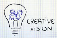 Gearwheels inside lightbulb,creative business vision Stock Illustration