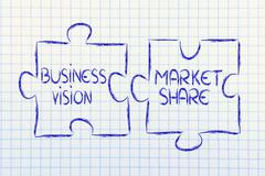 vision and market share,jigsaw puzzle design - stock illustration
