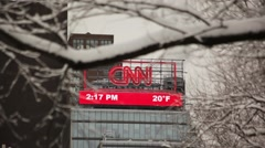 CNN Sign In Snow 02 HD Stock Footage