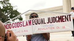 Sign at Same Sex Marriage Ruling - U.S. Supreme Court Stock Footage