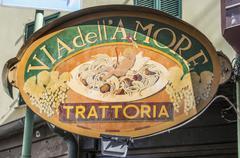 Sign Via dell Amore Way of Love trattoria Cinque Terre Liguria Italy Europe Stock Photos