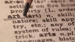 Art - Fake dictionary definition of the word with pencil underline Stock Footage